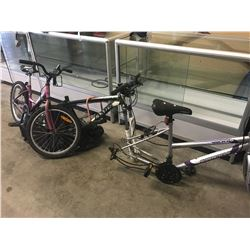 PINK RALEIGH BIKE, GREEN/WHITE TRAILX BIKE & GREY SUPERCYCLE BIKE
