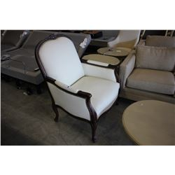 LARGE TRADITIONAL STYLE WOOD AND WHITE PADDED OCCASIONAL CHAIR