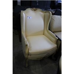 TRADITIONAL STYLE WOOD AND CREAM OCCASIONAL CHAIR