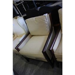 MODERN WOOD AND BEIGE PADDED ARM CHAIR