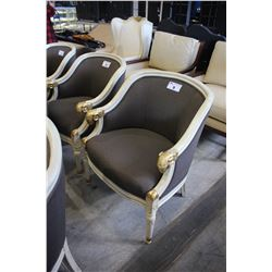 WHITE WOOD AND BROWN PADDED RAM'S HEAD ARM CHAIR