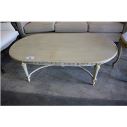 WHITE WOOD OVAL COFFEE TABLE