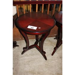 DARK WOOD ROUND SIDE TABLE