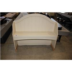 WHITE WOOD DESK HUTCH WITH FOLDING MIRROR