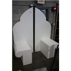 WHITE PADDED HEADBOARD UNIT