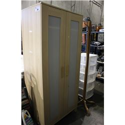 LIGHT WOOD WARDROBE, ROLLING STORAGE UNIT AND COAT TREE