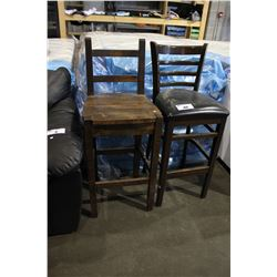 TWO WOOD BAR STOOLS