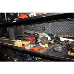 SHELF LOT OF TOOLS INCLUDING MOTOMASTER BATTERY CHARGER WITH ENGINE START, DEWALT CIRCULAR SAW,