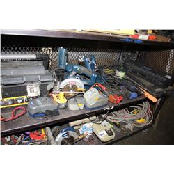 SHELF LOT OF TOOLS INCLUDING RYOBI CIRCULAR SAW AND POWER TOOLS ,  STANLEY TOOL BOX WITH
