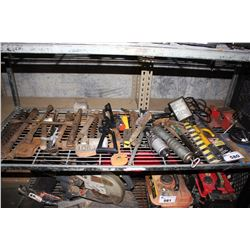 SHELF LOT OF ASSORTED HAND TOOLS AND MORE
