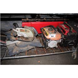 SHELF LOT INCLUDING WESTERN RUGGED 950W GAS GENERATOR, HONDA EX1000 GENERATOR, CRAFTSMAN CHOP SAW