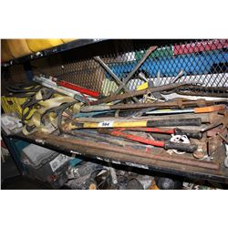 SHELF LOT OF ASSORTED HAND TOOLS, POWER TOOLS AND MORE