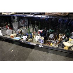 LARGE SHELF LOT OF ASSORTED COLLECTABLES INCLUDING POP BOTTLES, DECOR, CRYSTALWARE AND MORE
