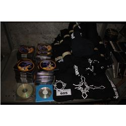 SHELF LOT OF LEAGUE OF CORRUPTION BAND MERCHANDISE (SHIRTS, CDS)