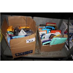 BIN OF ASSORTED TABLET/CELL PHONE CASES AND BOX OF ASSORTED HOUSEHOLD GOODS