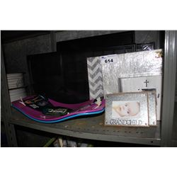 SHELF LOT INCLUDING FRAMED ORGANIZERS, POSTER FRAMES, PHOTO ALBUMS AND WORKOUT SPIN BOARDS