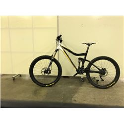 BLACK AND WHITE KONA FULL SUSPENSION 21 SPEED MOUNTAIN BIKE