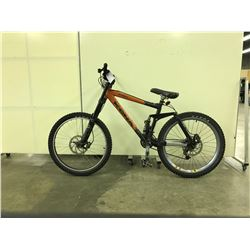 ORANGE AND BLACK KONA STINKY FULL SUSPENSION 21 SPEED MOUNTAIN BIKE