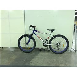 BLUE AND WHITE MINELLI FRONT SUSPENSION 21 SPEED MOUNTAIN BIKE