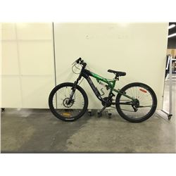 GREEN AND BLACK KRANKED FRONT SUSPENSION 18 SPEED MOUNTAIN BIKE