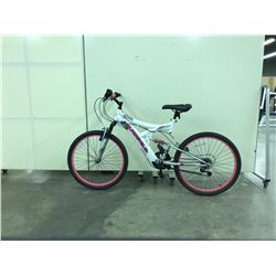 WHITE AND PINK SUPERCYCLE NITROUS FULL SUSPENSION 21 SPEED MOUNTAIN BIKE