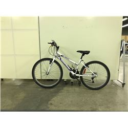 WHITE AND PURPLE SUPERCYCLE 21 SPEED MOUNTAIN BIKE
