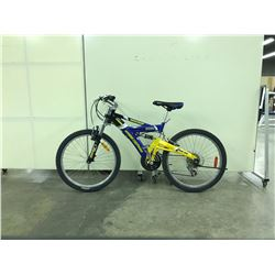 BLUE AND YELLOW SUPERCYCLE HOOLIGAN FULL SUSPENSION 21 SPEED MOUNTAIN BIKE