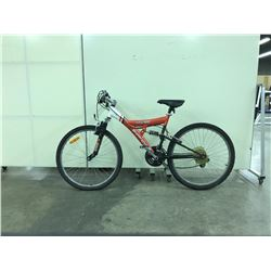ORANGE AND WHITE SUPERCYCLE FULL SUSPENSION 21 SPEED MOUNTAIN BIKE