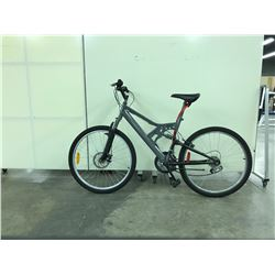 GREY NO NAME FULL SUSPENSION 21 SPEED MOUNTAIN BIKE