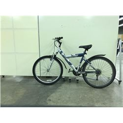 BLUE AND SILVER DUNLOP 767 FRONT SUSPENSION 21 SPEED MOUNTAIN BIKE