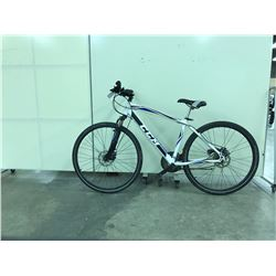 WHITE AND BLUE CCM KROSSPORT FRONT SUSPENSION 21 SPEED MOUNTAIN BIKE