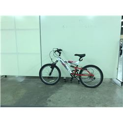 RED AND WHITE TECHPRO FULL SUSPENSION 6 SPEED  KIDS BIKE