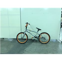 SILVER AND ORANGE MACABRE 1 SPEED STUNT BIKE