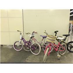 LOT OF 4 MISC. CHILDRENS BIKES