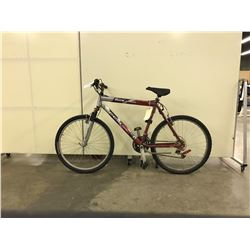 RED AND SILVER CCM SLICK FRONT SUSPENSION 21 SPEED MOUNTAIN BIKE