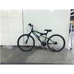 BLACK AND GREEN SUPERCYCLE FULL SUSPENSION 21 SPEED MOUNTAIN BIKE