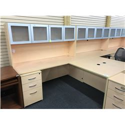 MAPLE 6X6' L-SHAPE COMPUTER DESK COMES WITH FROSTED GLASS FRONT OVERHEAD HUTCH AND 3 DRAWER MOBILE