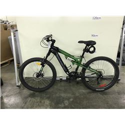 GREEN KRANKED 21 SPEED FULL SUSPENSION FRONT DISC BRAKES MOUNTAIN BIKE
