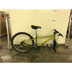 YELLOW NO NAME 27 SPEED FRONT SUSPENSION MOUNTAIN BIKE (NO FRONT TIRE)