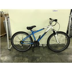 BLUE AND WHITE SCHWINN TESSA 24 SPEED FRONT SUSPENSION MOUNTAIN BIKE