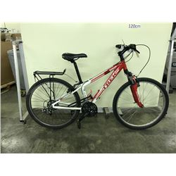 RED AND WHITE TREK 3 SERIES 21 SPEED FRONT SUSPENSION MOUNTAIN BIKE