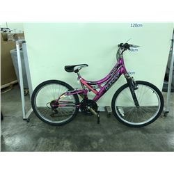 PURPLE HUFFY 18 SPEED FULL SUSPENSION MOUNTAIN BIKE