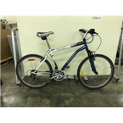 WHITE AND BLUE INFINITY MERCURY 18 SPEED FRONT SUSPENSION MOUNTAIN BIKE