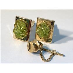 GENT JADITE CUFFLINKS AND TIE PIN ACCENTS WITH A DIAMOND  (AUTHENTICITY NOT VERIFIED)