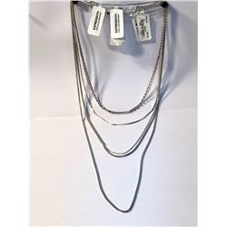 LOT OF 7 STERLING SILVER CHAINS OF DIFFERENT SIZES AND STYLES  (AUTHENTICITY NOT VERIFIED)