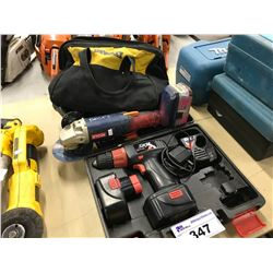 LOT OF TOOLS INC. DRILL, RYOBI GRINDER, AND DEWALT TOOL BAG WITH CONTENTS