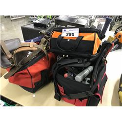 4 TOOL BAGS WITH CONTENTS INC. HAMMERS, WRENCHES, CUTTING TOOLS, PLIERS AND MORE