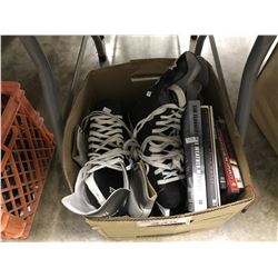 BIN OF ASSORTED HOUSEHOLD ITEMS INC. HOCKEY SKATES, BOOKS AND MORE