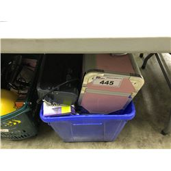 BIN OF ASSORTED HOUSEHOLD ITEMS/ELECTRONICS