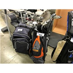 GOLF SET WITH ORANGE BAG, FULL SET OF WOODS, IRONS AND PUTTER, MOSTLY WILSON